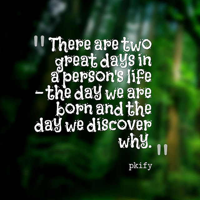 There Are Two Great Days in a Person's Life the Day We Are Born and the Day We Discover Why Life Quotes