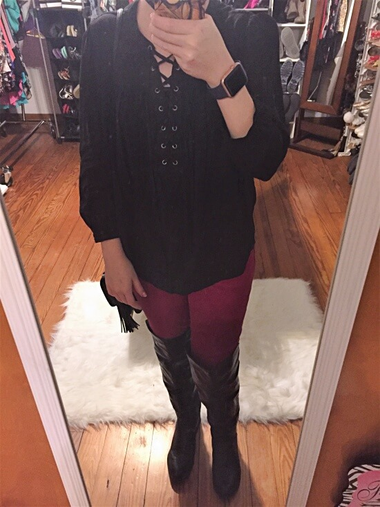black lace up shirt outfit of the day
