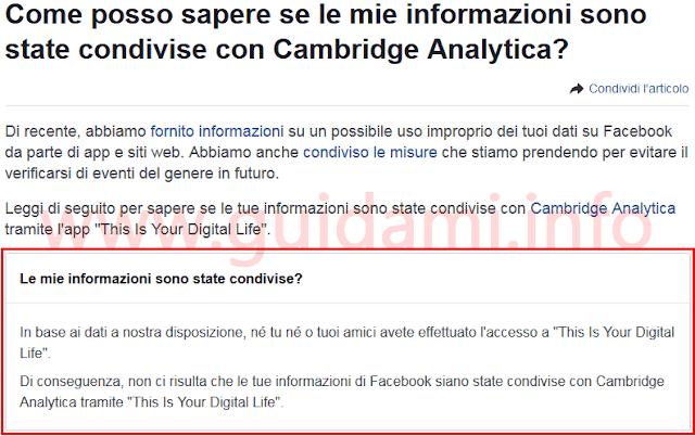Facebook test per sapere se i propri dati sono stati condivisi con Cambridge Analytica