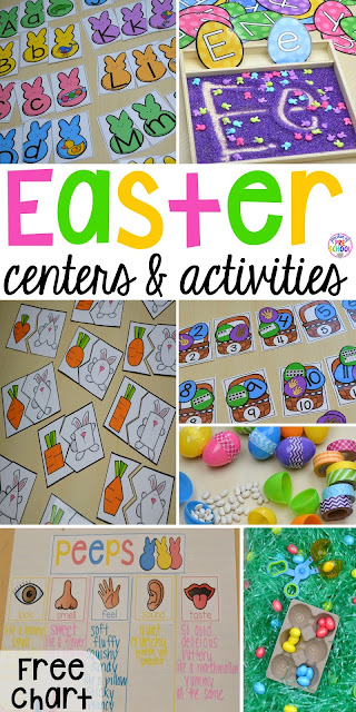 Peeps 5 senses and taste test FREEBIE plus all my favorite Easter themed writing, math, fine motor, sensory, literacy, art, STEM, and science activities for preschool, pre-k, and kindergarten.