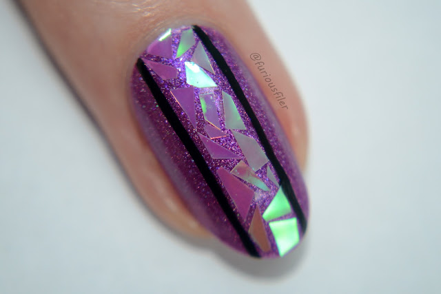 Glass nails holographic furious filer macro nail art