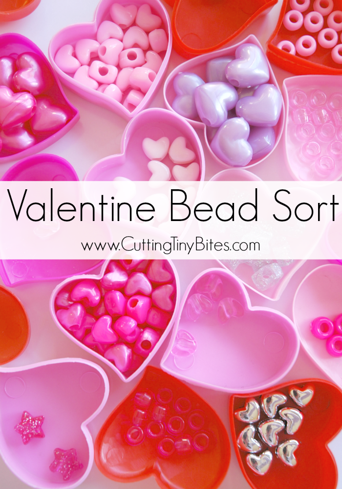 Valentine Bead Sort-  Fine motor Valentine's Day activity for toddlers or preschoolers. Also great for developing early math skills.