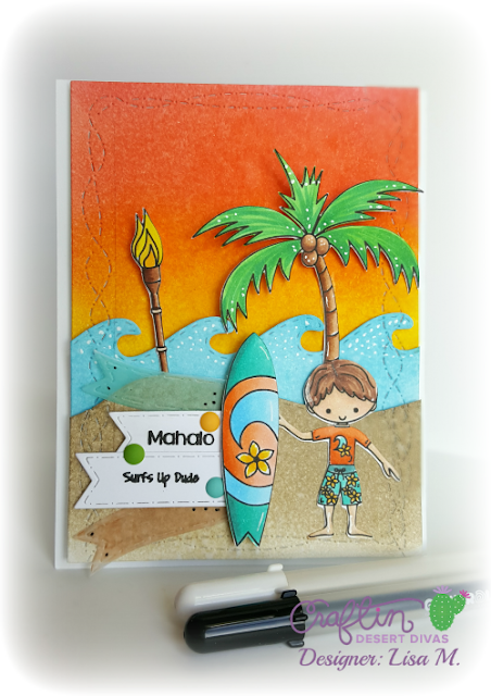 Island Paradise handmade card featuring stamped surfer, surf boards, tiki torch, palm tree and sentiments