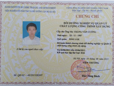chung chi quan ly chat luong cong trinh