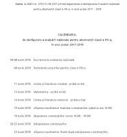 Calendar evaluare nationala 2018