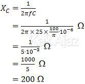 Penentuan nilai reaktansi kapasitif, hambatan resistor