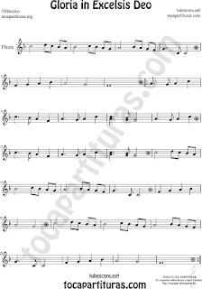 Flauta Travesera, flauta dulce y flauta de pico Partitura de Gloria in excelsis deo Villancico Sheet Music for Flute and Recorder Music Scores