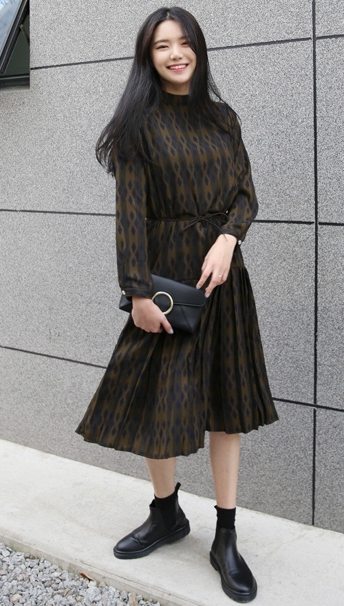 Pleated Diamond Pattern Dress