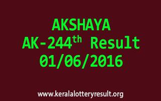 AKSHAYA AK 244 Lottery Result 1-6-2016