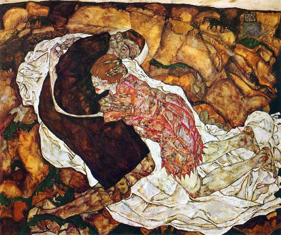 La muerte y la doncella 2 Egon Schiele  Harte con Hache