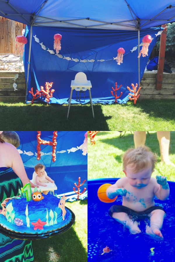 Baby in kiddie pool for under the sea outdoors birthday party.