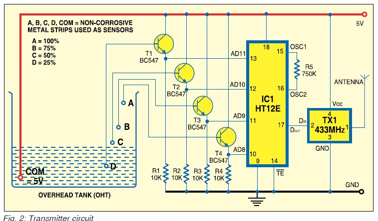 Six Level Wireless Water Level Indicator Circuit Diagram Index