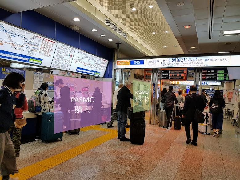 第二航廈的車站入口,標示哪邊購買 PASMO,哪邊可以退卡