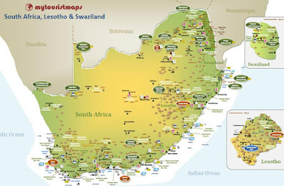 interactive tourist travel map SOUTH AFRICA, LESOTHO & SWAZILAND