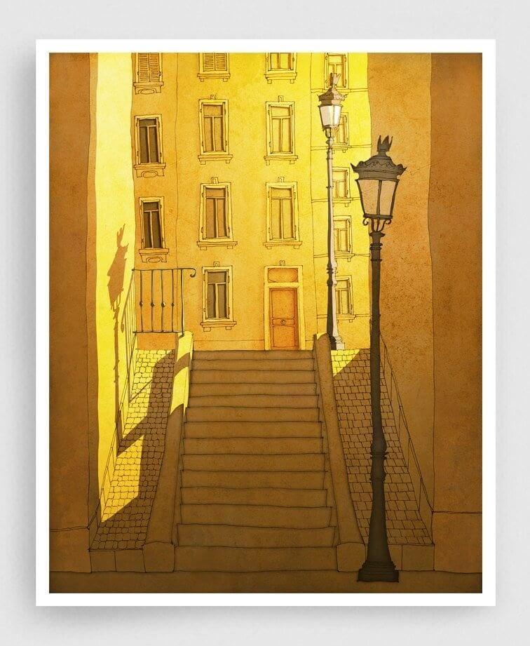 08-Morning-Shine-Montmartre-Brigitta-Paris-Illustrations-Colorful-Architecture-www-designstack-co