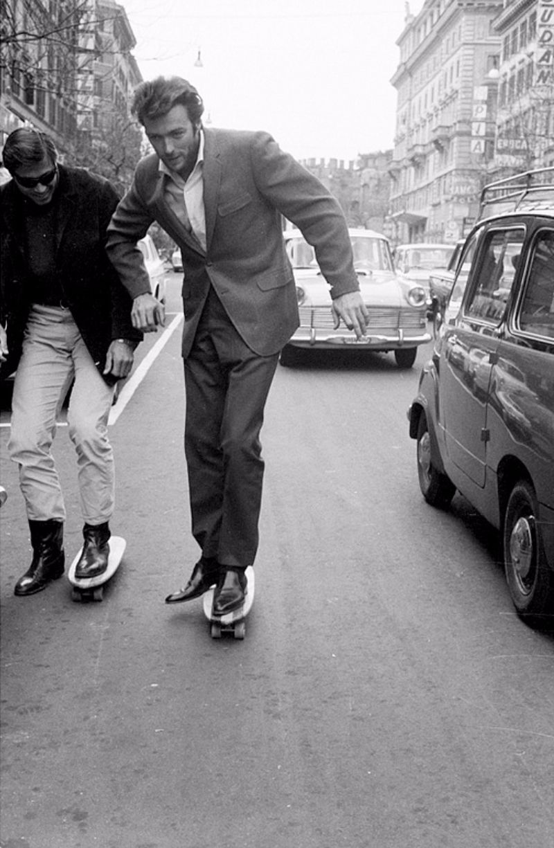 Clint Eastwood Skateboarding On Via Veneto Rome In 1965