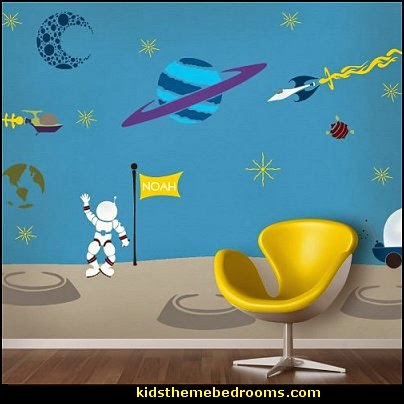 Outer Space Theme Wall Mural Stencil Kit for Kid's Rooms Outer space decor - space themed kids rooms - planets decor - astronaut wall murals  - outer space bedding - galaxy themed room decor - space themed bedding - planet wall decals - sci fi themed bedroom robots rockets monsters aliens - Star Wars Bedrooms -