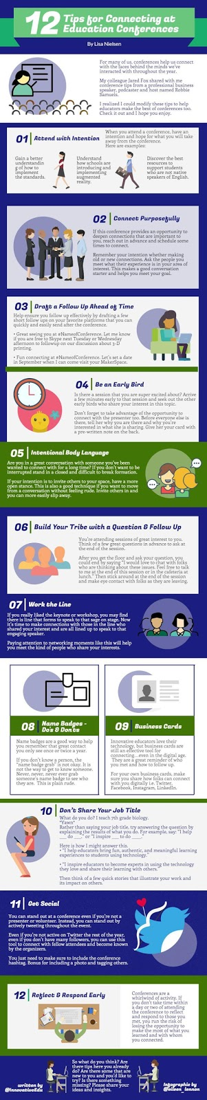 12 Tips for Connecting at Education Conferences - Infographic