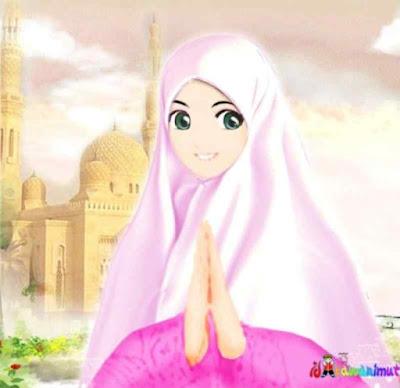 kartun muslimah cantik berdo'a