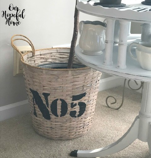 No. 5 stenciled basket