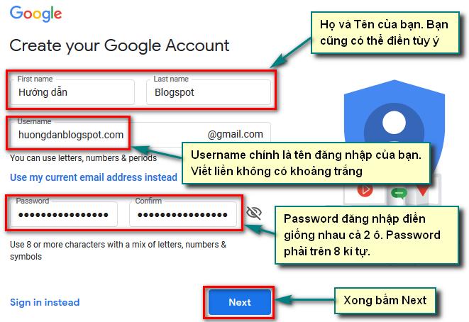 Dien thong tin dang ky Gmail