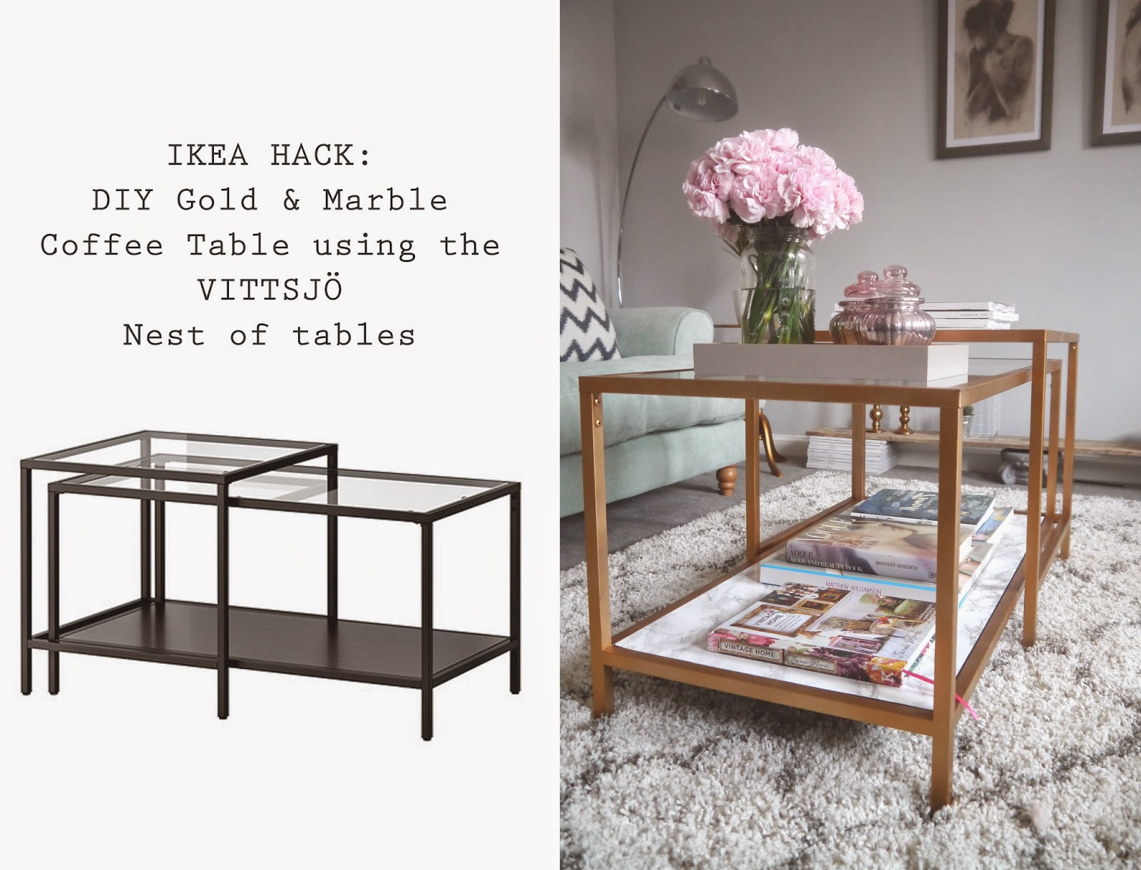 Ikea Hack Diy Gold And Marble Coffee Table Using The Vittsjo Nest Of Tables