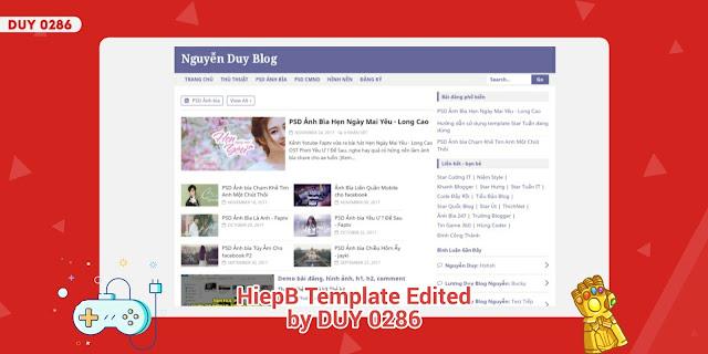 Chia sẻ Template đẹp HiepB Edited chuẩn SEO cho Blogspot