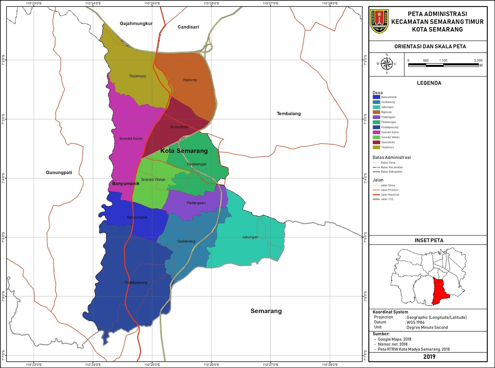 Peta Administrasi Kecamatan Banyumanik, Kota Semarang ...
