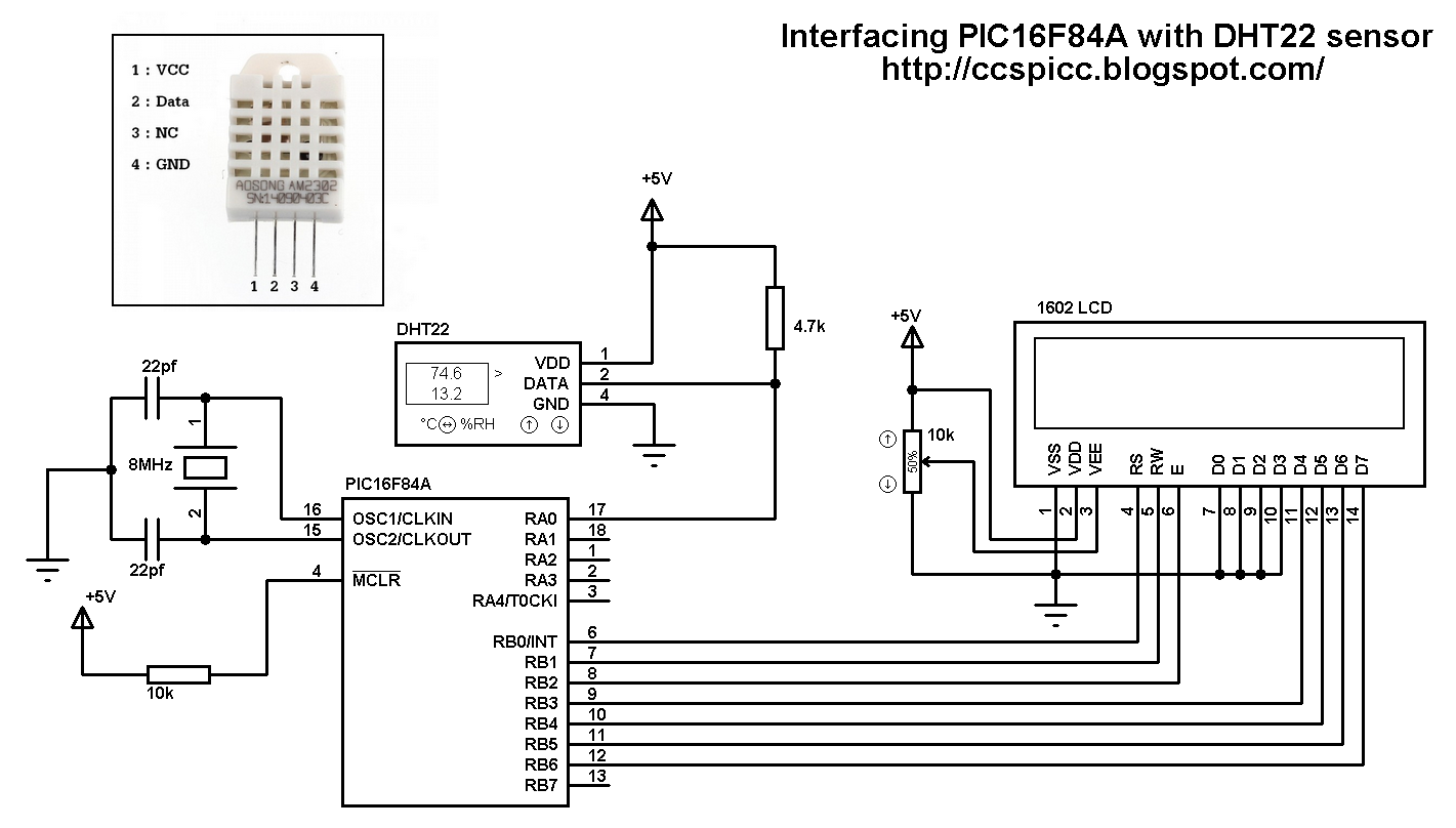 digital temperature controller circuit diagram lg washing machine parts interfacing pic16f84a with dht22 humidity and