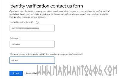 Formulir banding adsense gagal verif identitas