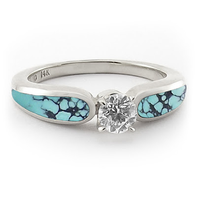 Turquoise And Diamond Wedding Ring