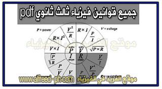 جميع قوانين فيزياء ثالث ثانوي pdf ، برابط تحميل مباشر ـ مصر ، Third secondary physics laws