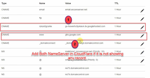 Add both nameserver into cloudflare when not showing any record