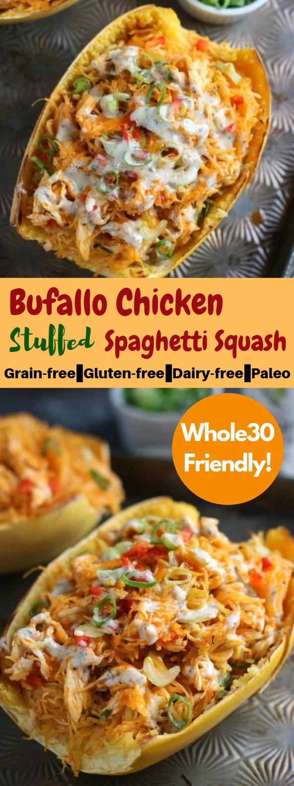 Buffalo Chicken Stuffed Spaghetti Squash #Chicken #HealthyRecipe
