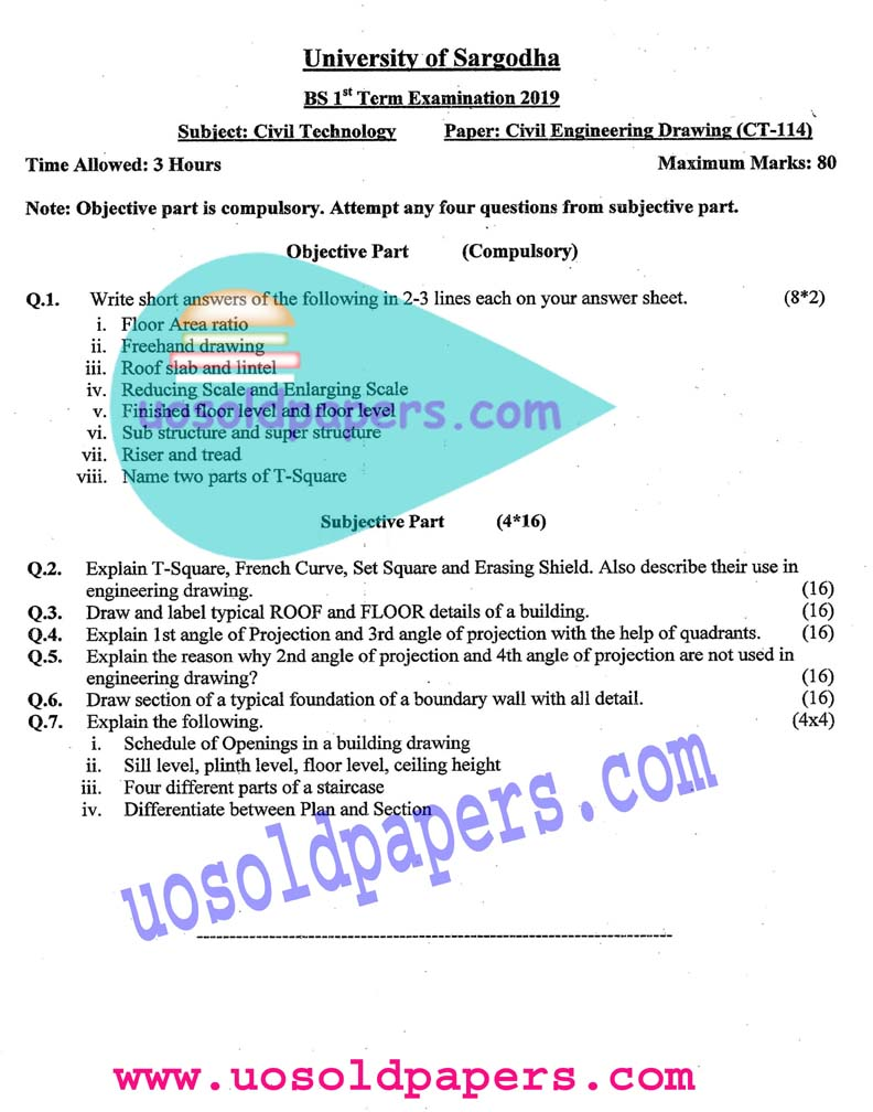 CT-114: Civil Engineering Drawing  (New Scheme), BS Civil Technology, Term System