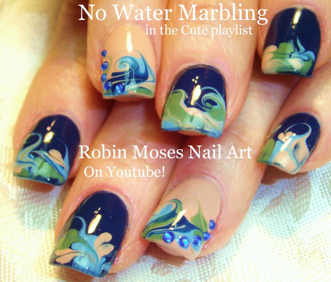 Nail Art by Robin Moses: No water Marble Nail art Design tutorial
