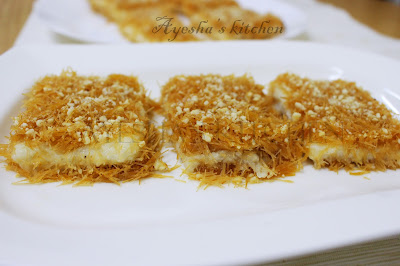 kunafa recipe without kunafa dough with thin vermicelli