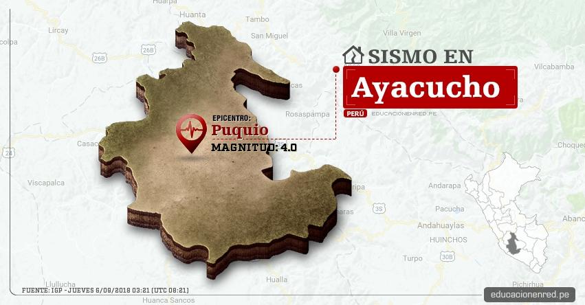 Temblor en Ayacucho de magnitud 4.0 (Hoy Jueves 6 Septiembre 2018) Sismo EPICENTRO Puquio - Lucanas - IGP - www.igp.gob.pe