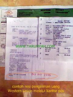 Contoh resi pengiriman uang Western Union melalui Pos Indonesia