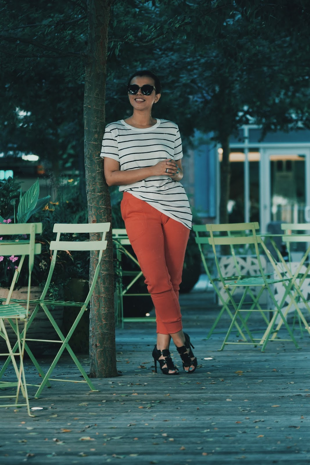 Red Joggers And Stripes by Mari Estilo