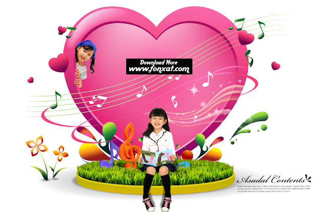 FREE PSD download : Heart girl design