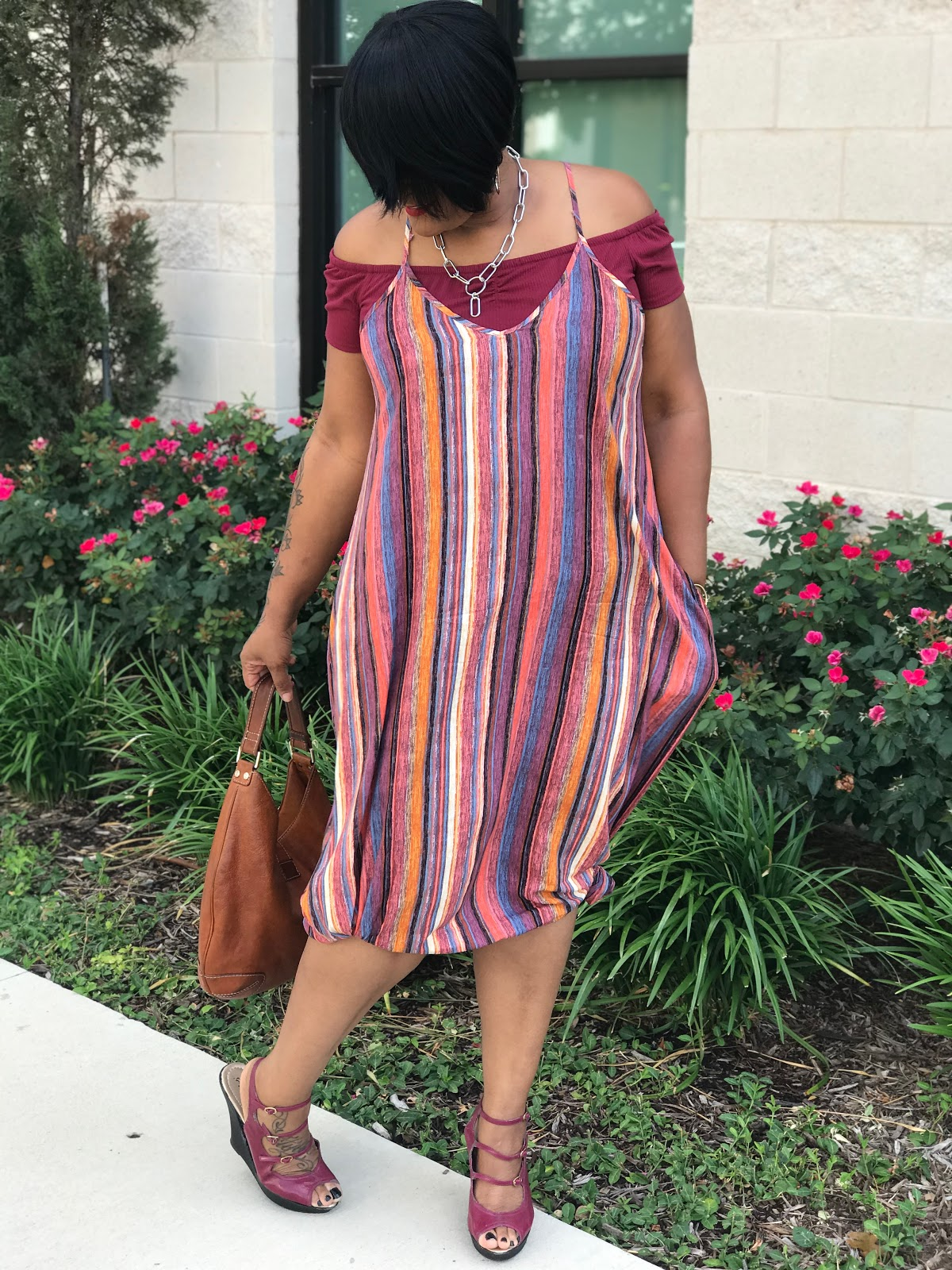 Image: Woman sharing total look and outfit with old shoes, new dress and accessories