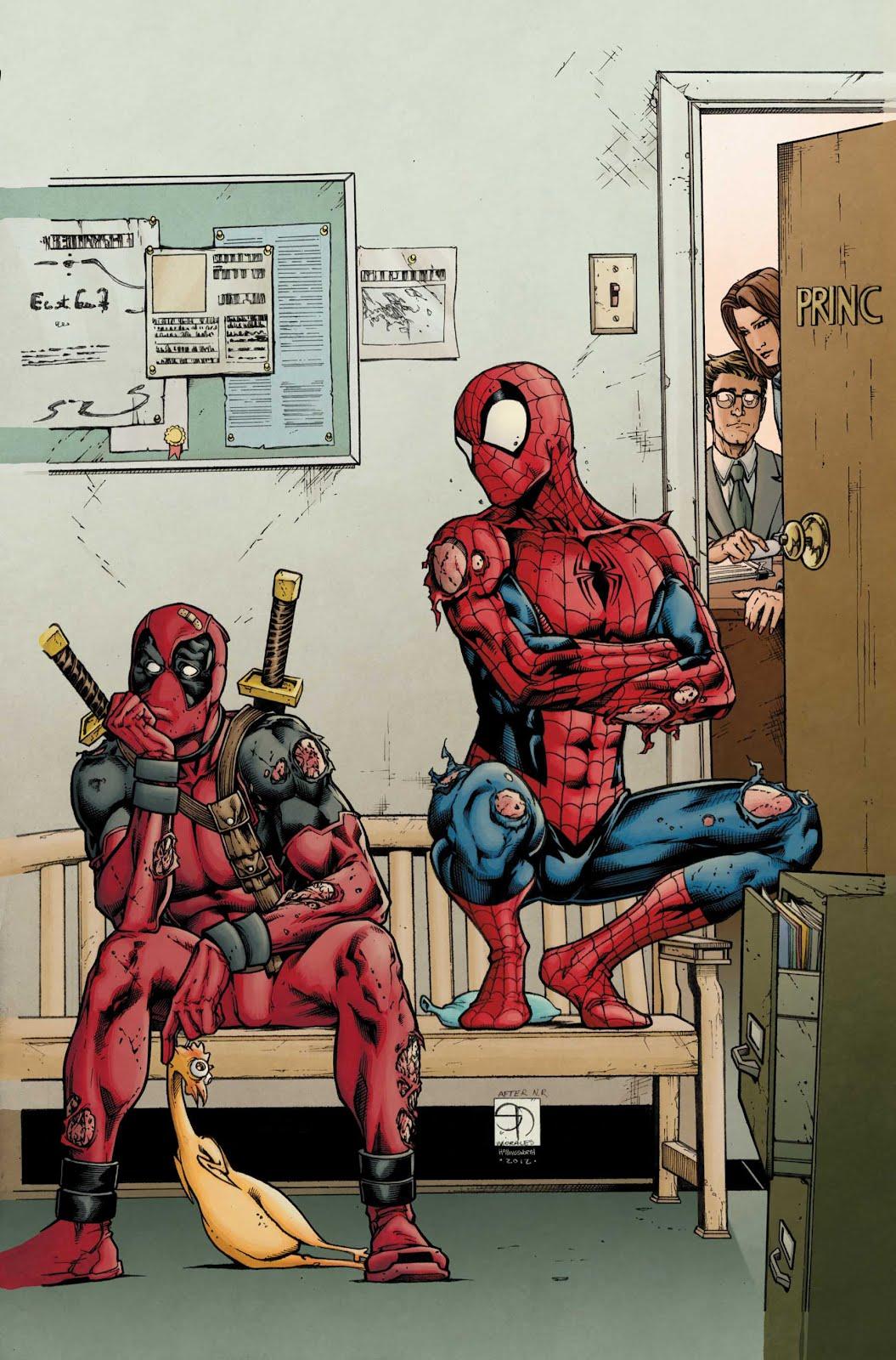 Deadpool Drawings Spider Superhero And Man