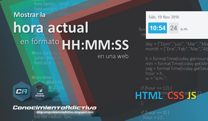 Mostrar la hora actual en formato HH:MM:SS en una web