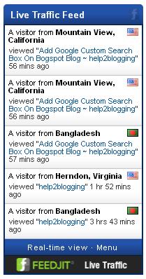 Add Feedjit World Live Traffic/ Visitors Widget On Blogger