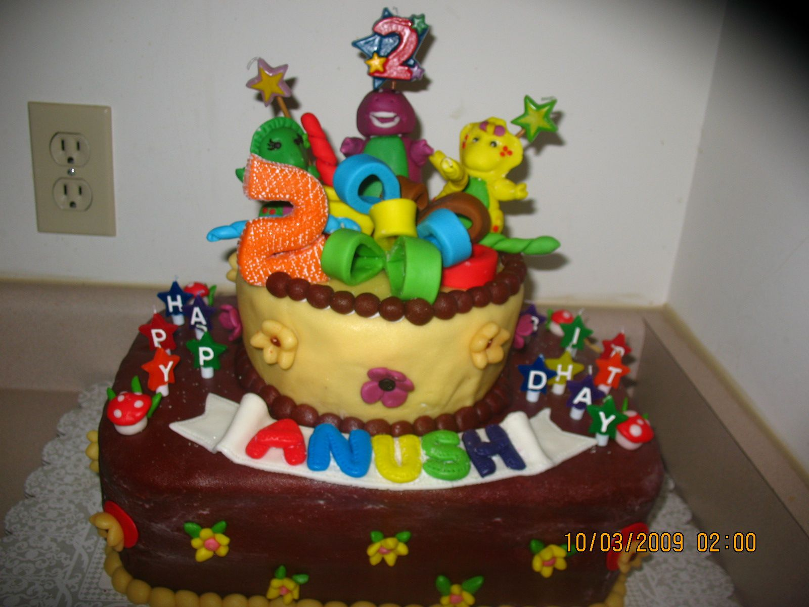 Anushs 2nd Birthday Cake Barney And Friends Fondant My First