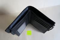 innen oben: bupell Flache Portemonnaie mit herausnehmbarem Ausweisfach - Aus echtem Leder - Seitlichem Münzfach mit Reißverschluss - Schwarz
