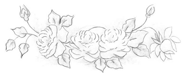 pintura em tecido risco ramo rosas