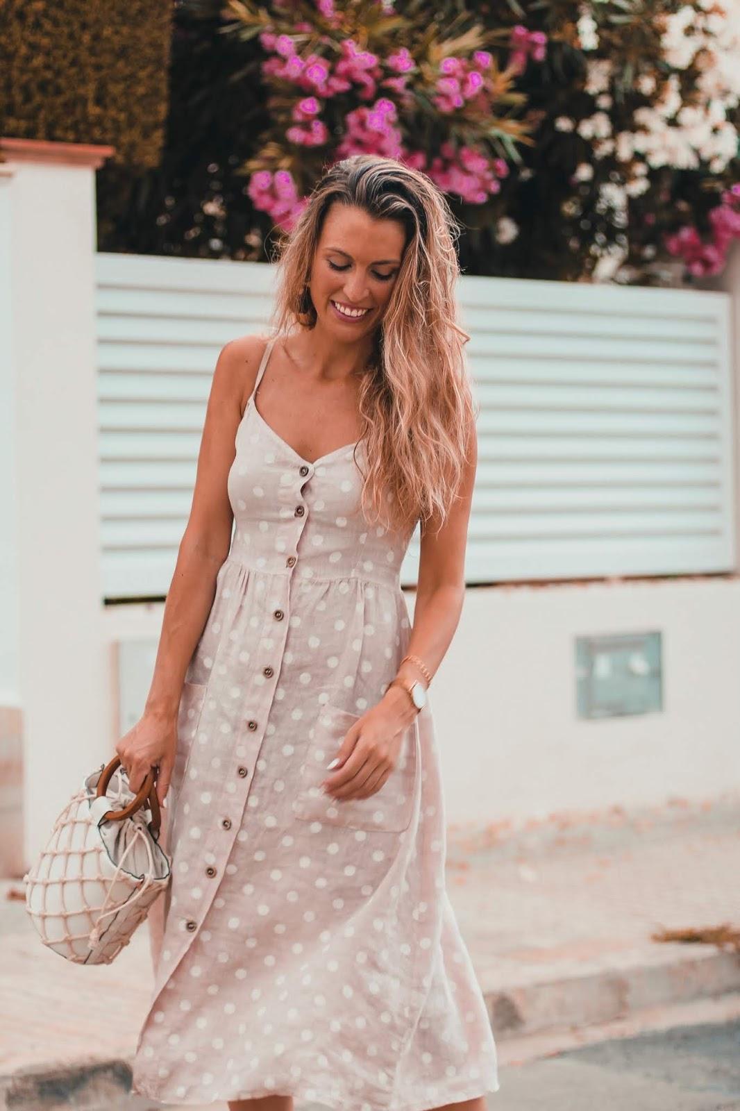 vestido rosa lino