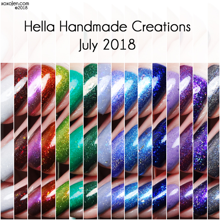 xoxoJen's swatch collage of Hella Handmade Creations July 2018